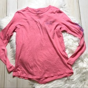 Vineyard Vines Pink Spell Out Whale T-shirt Tee